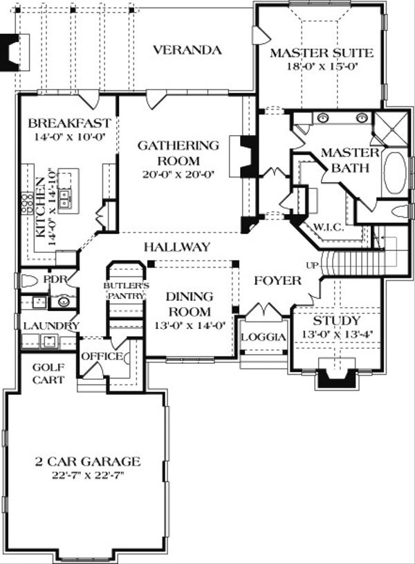 European Floor Plan - Main Floor Plan Plan #453-18