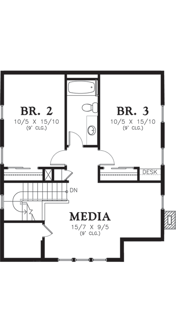 Cottage Floor Plan - Upper Floor Plan Plan #48-572