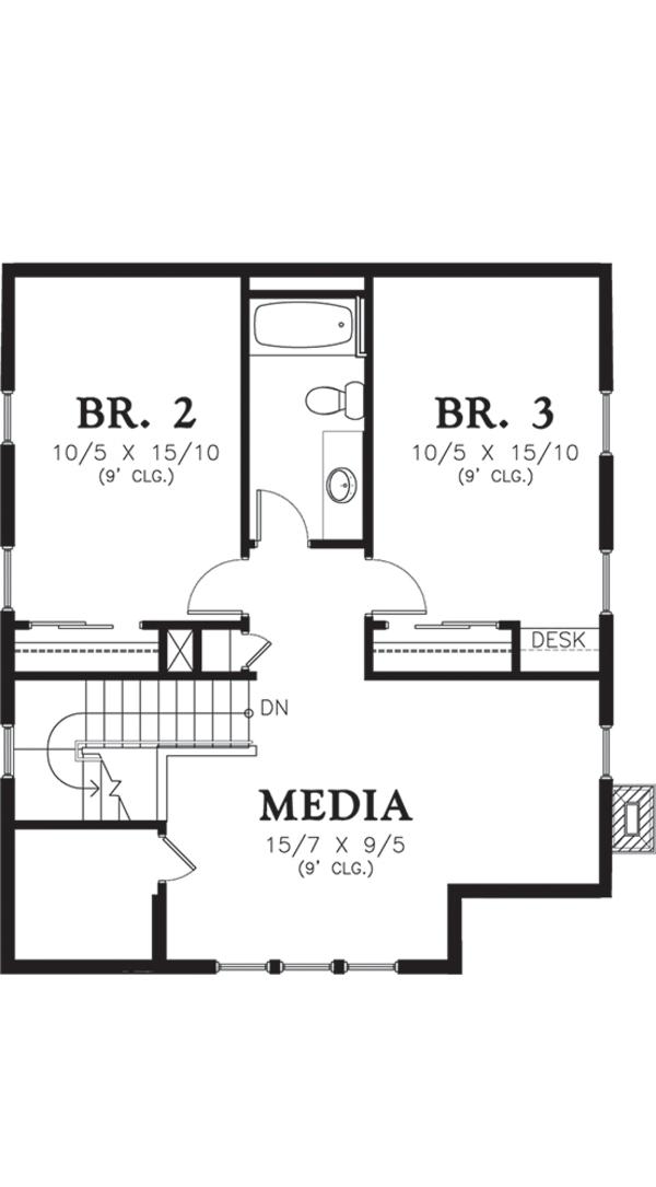 Dream House Plan - Cottage Floor Plan - Upper Floor Plan #48-572