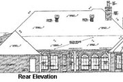 European Style House Plan - 4 Beds 3.5 Baths 3443 Sq/Ft Plan #310-333 Exterior - Rear Elevation