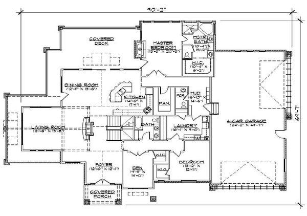 House Plan Design - Craftsman Floor Plan - Main Floor Plan #5-466