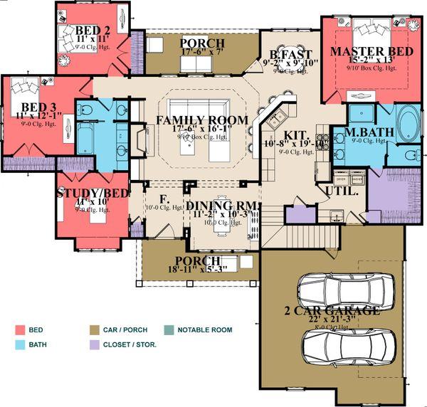 Traditional Floor Plan - Main Floor Plan Plan #63-402