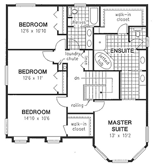 Victorian Floor Plan - Upper Floor Plan Plan #18-245