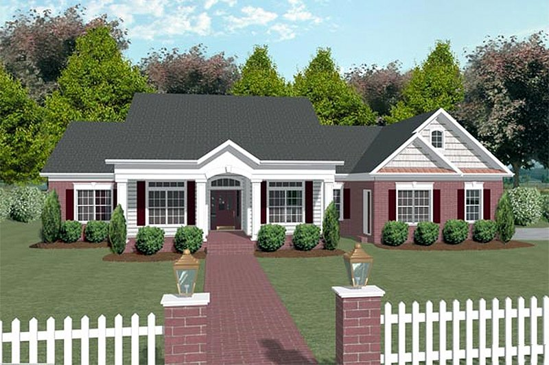 Southern Exterior - Front Elevation Plan #56-170