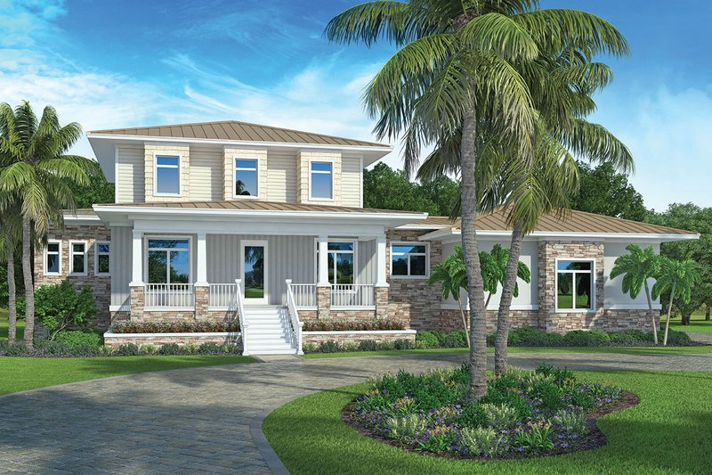 Architectural House Design - Southern Exterior - Front Elevation Plan #938-93