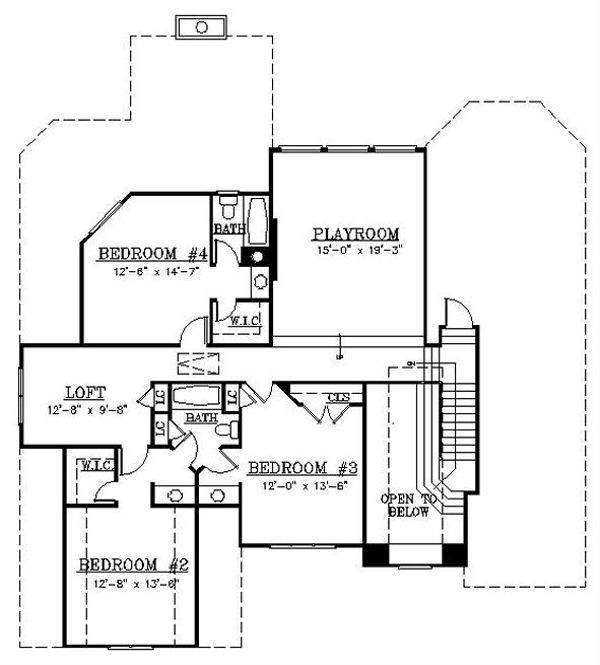 European Floor Plan - Upper Floor Plan Plan #119-307