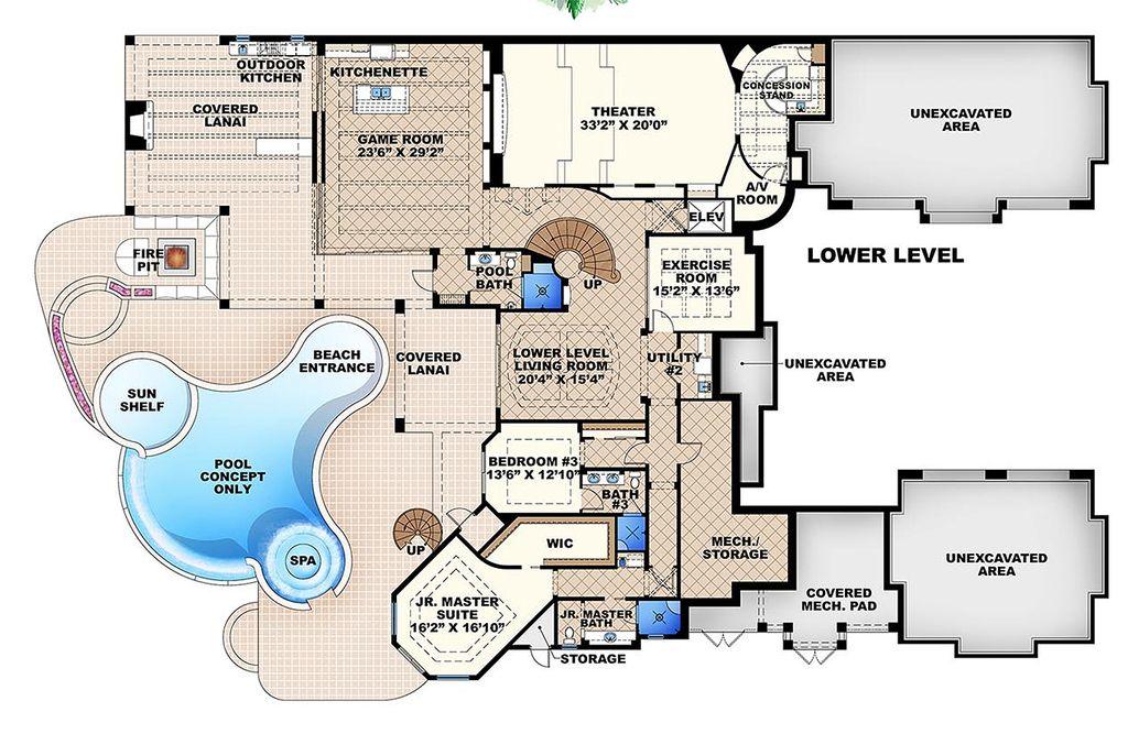 mediterranean style house plan 6 beds 7 5 baths 11672 sq ft plan rh houseplans com 6 bedroom house plans south africa 6 bedroom house plans australia