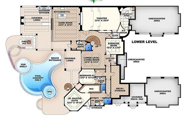 Mediterranean Floor Plan - Lower Floor Plan Plan #27-466