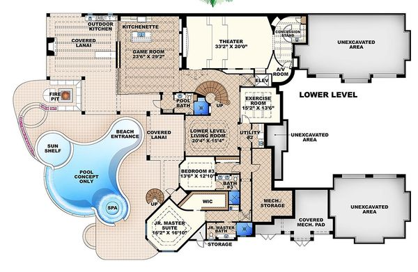 Mediterranean Floor Plan - Lower Floor Plan #27-466