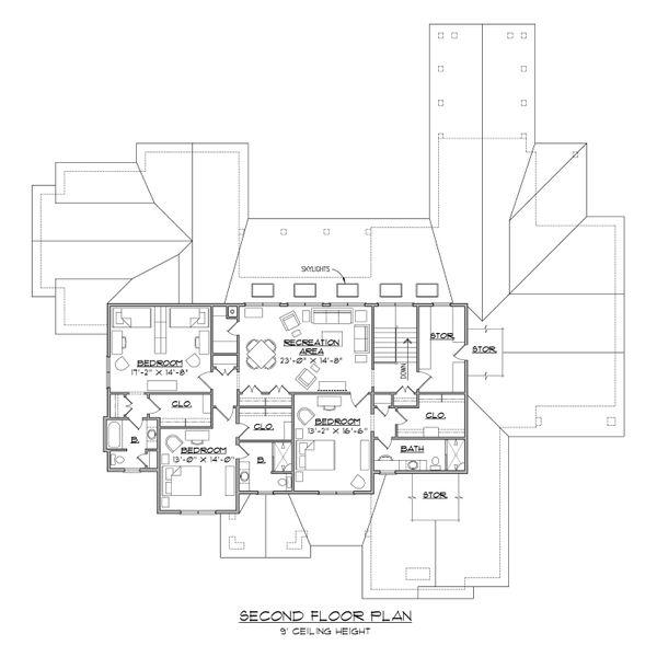 Contemporary Floor Plan - Upper Floor Plan Plan #1054-32