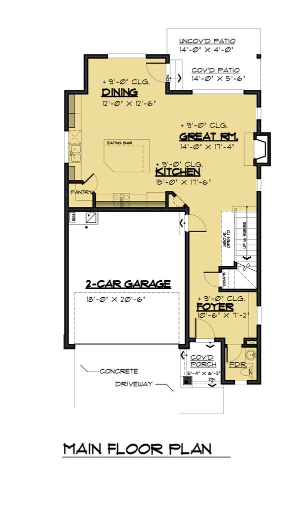 Contemporary Floor Plan - Main Floor Plan Plan #1066-88