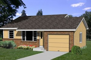 Ranch Exterior - Front Elevation Plan #116-207