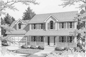 Colonial Exterior - Front Elevation Plan #112-129