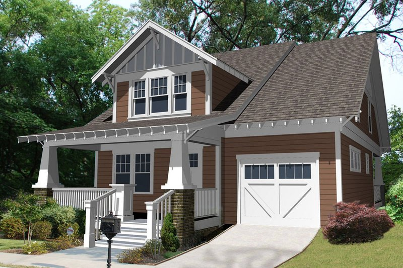 Craftsman Style House Plan - 3 Beds 2.5 Baths 2100 Sq/Ft Plan #461-25 Exterior - Front Elevation