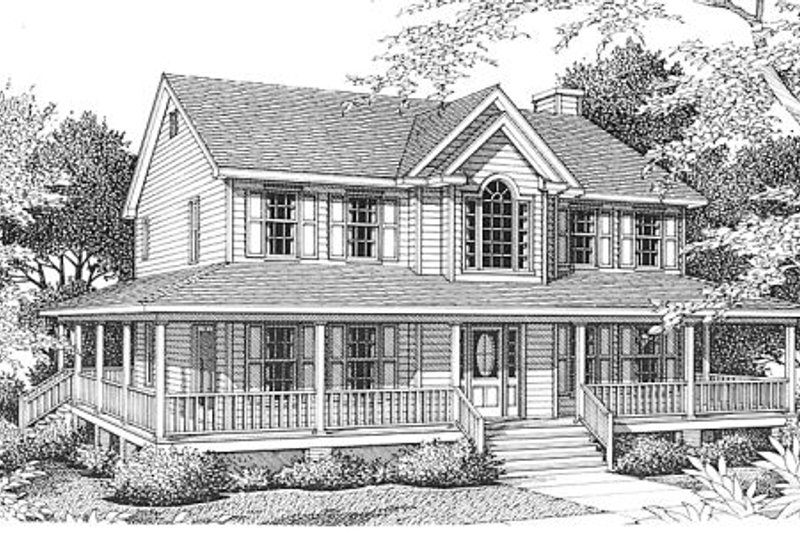 Country Exterior - Front Elevation Plan #10-206