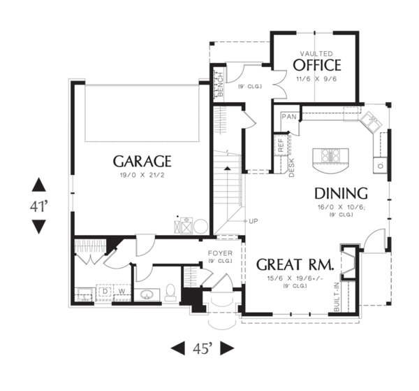 Craftsman Floor Plan - Main Floor Plan Plan #48-521