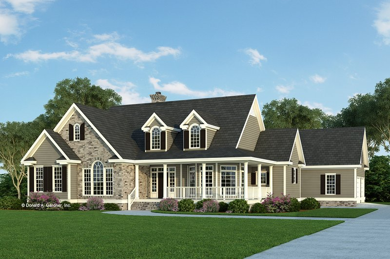 Country style house plan 4 beds 2 5 baths 2361 sq ft for Single story house plans with detached garage