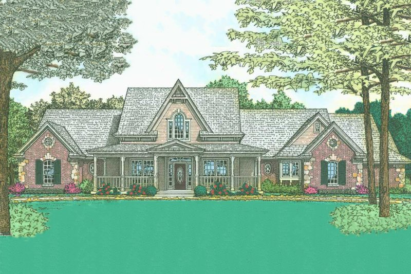 Country Style House Plan - 4 Beds 2.5 Baths 2787 Sq/Ft Plan #310-218 Exterior - Front Elevation