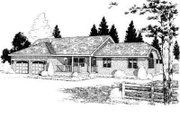 Ranch Style House Plan - 3 Beds 2 Baths 1873 Sq/Ft Plan #75-130 Exterior - Front Elevation