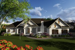 Ranch Exterior - Front Elevation Plan #70-1281