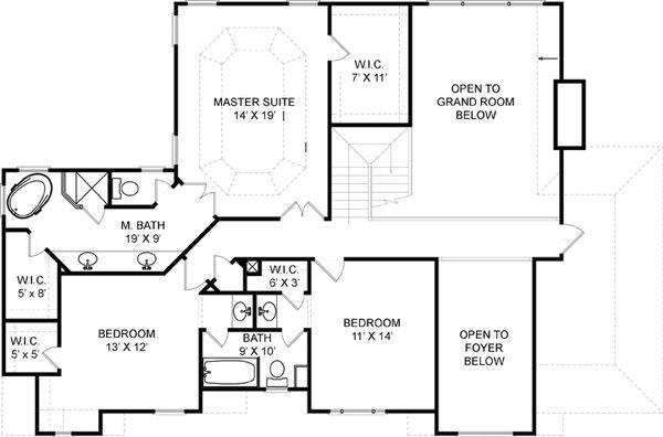 Colonial Floor Plan - Upper Floor Plan #119-128