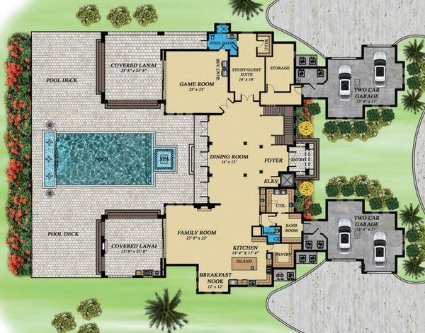 Contemporary Floor Plan - Main Floor Plan Plan #548-26