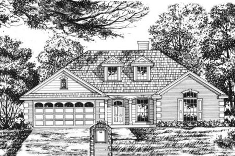European Exterior - Front Elevation Plan #40-349