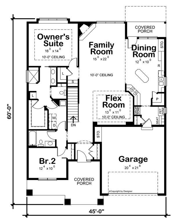 Home Plan - Craftsman Floor Plan - Main Floor Plan #20-2463