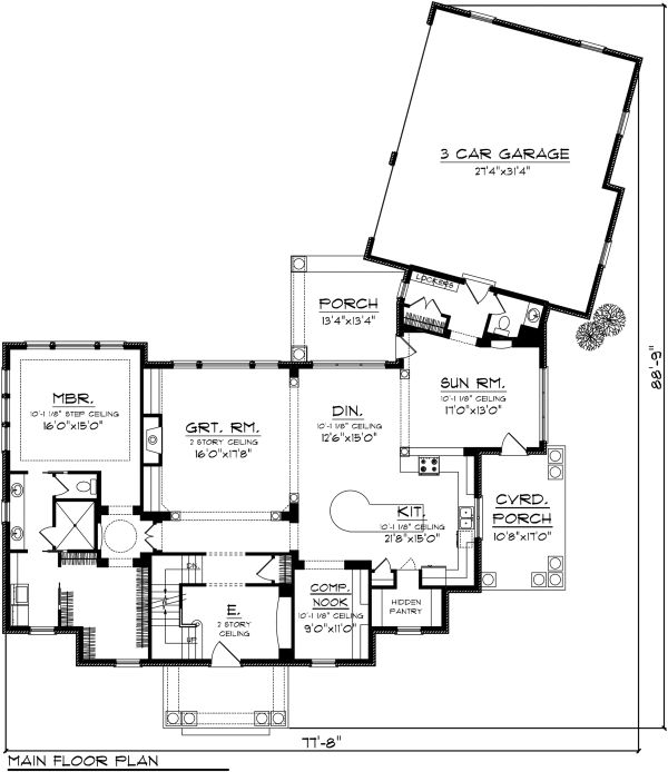 Colonial Floor Plan - Main Floor Plan Plan #70-1144