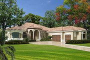 Mediterranean Style House Plan - 5 Beds 3.5 Baths 4265 Sq/Ft Plan #420-285 Exterior - Front Elevation
