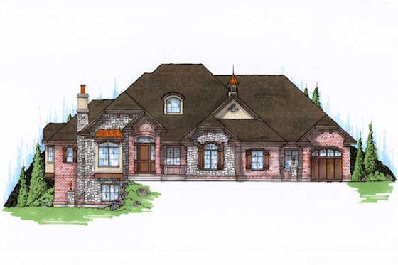 European Exterior - Front Elevation Plan #5-316