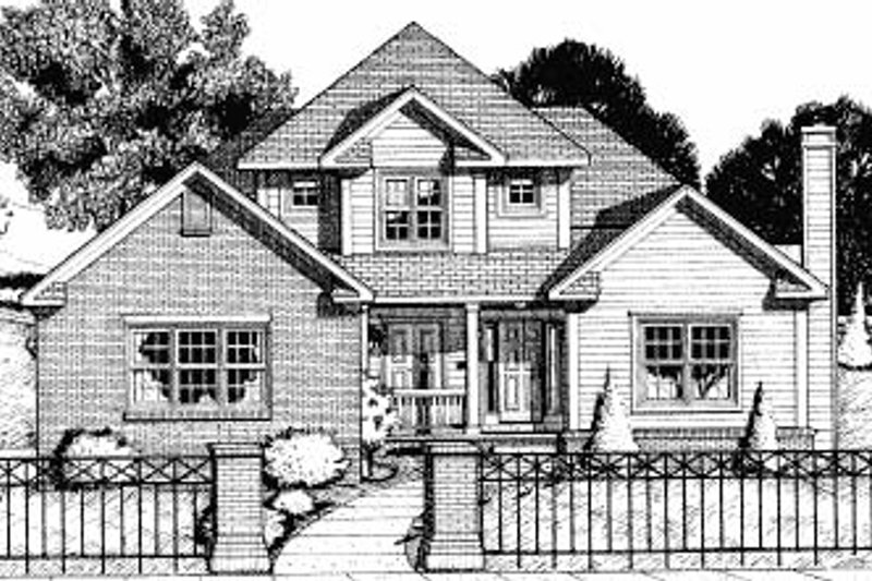 Traditional Style House Plan - 3 Beds 2.5 Baths 2059 Sq/Ft Plan #20-693 Exterior - Front Elevation