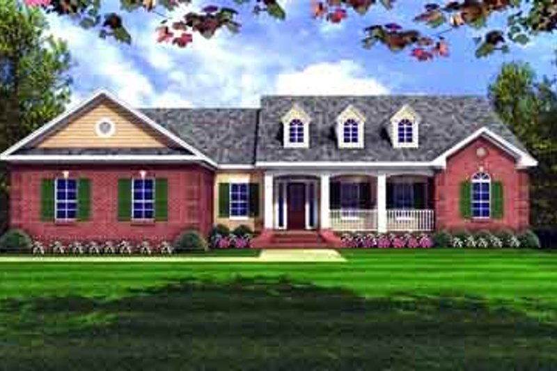 Ranch Style House Plan - 3 Beds 2 Baths 1701 Sq/Ft Plan #21-156 Exterior - Front Elevation
