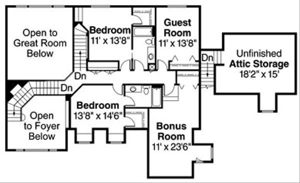 European Floor Plan - Upper Floor Plan Plan #124-319