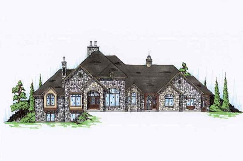 European Style House Plan - 5 Beds 5 Baths 4371 Sq/Ft Plan #5-346 Exterior - Front Elevation