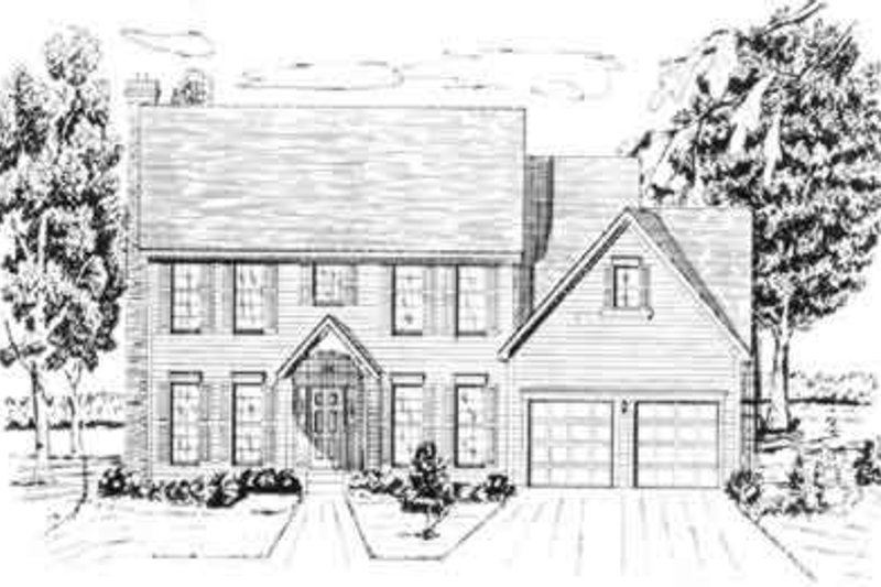 Colonial Style House Plan - 4 Beds 3.5 Baths 2946 Sq/Ft Plan #405-103 Exterior - Front Elevation