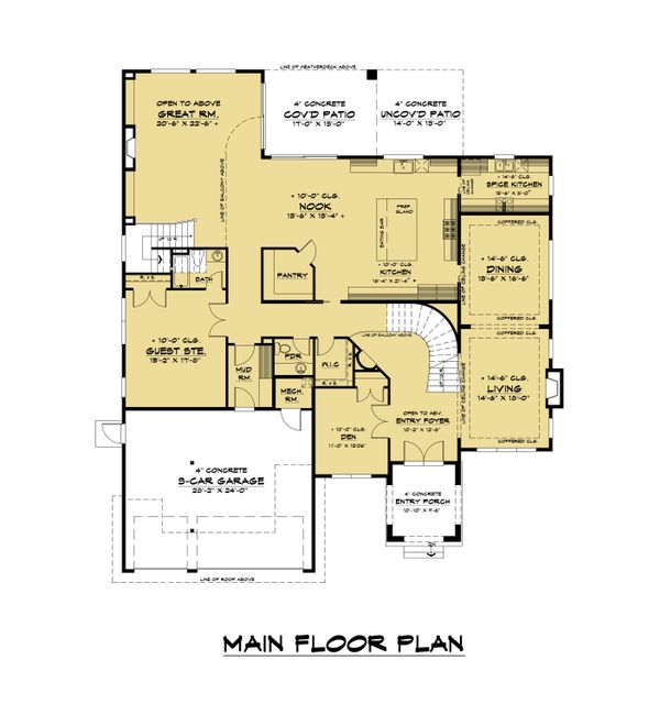 Mediterranean Floor Plan - Main Floor Plan Plan #1066-108