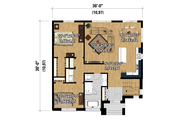 Contemporary Style House Plan - 2 Beds 1 Baths 1236 Sq/Ft Plan #25-4334 Floor Plan - Main Floor Plan
