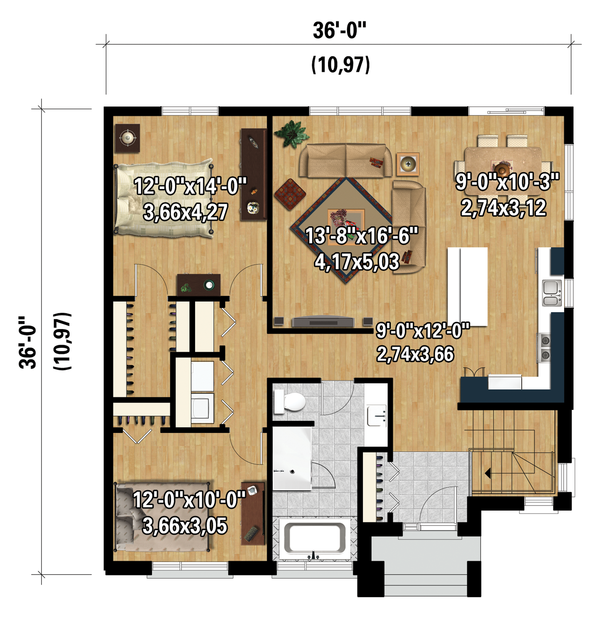 Contemporary Floor Plan - Main Floor Plan Plan #25-4334