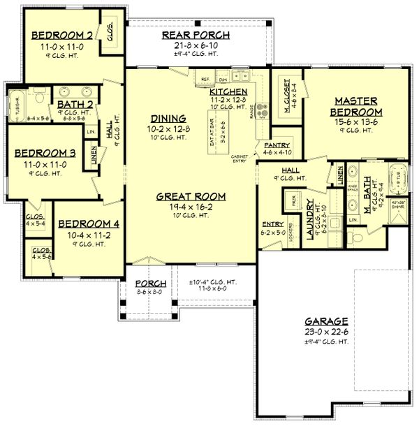 Dream House Plan - Farmhouse Floor Plan - Main Floor Plan #430-207