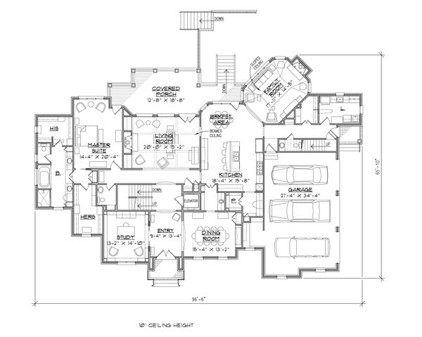 Traditional Floor Plan - Main Floor Plan Plan #1054-31