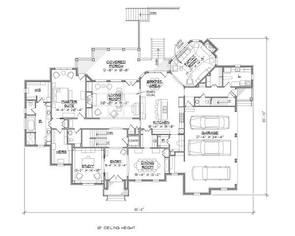 Traditional Floor Plan - Main Floor Plan Plan #1054-31