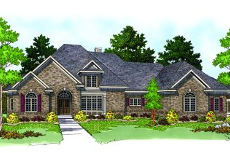 European Style House Plan - 4 Beds 3.5 Baths 4297 Sq/Ft Plan #70-547 Exterior - Front Elevation