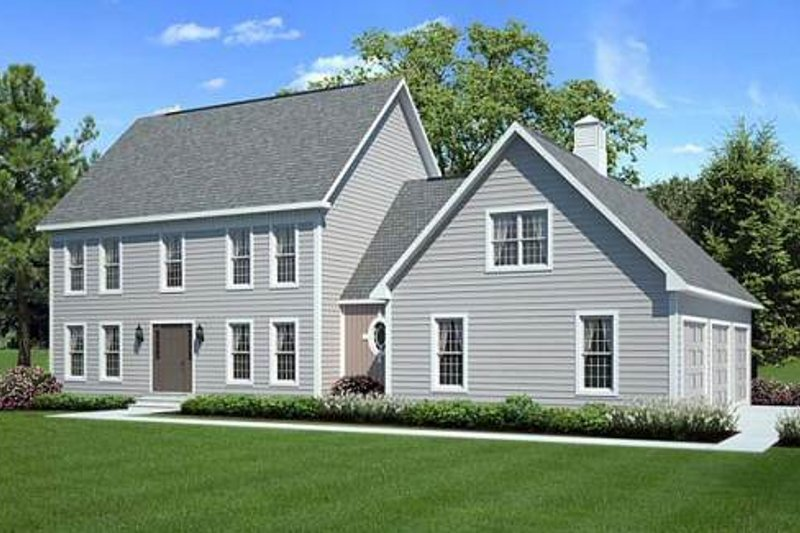 Colonial Style House Plan - 3 Beds 2.5 Baths 2138 Sq/Ft Plan #312-637