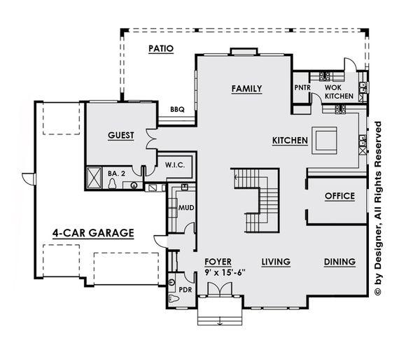 Contemporary Floor Plan - Main Floor Plan #1066-28