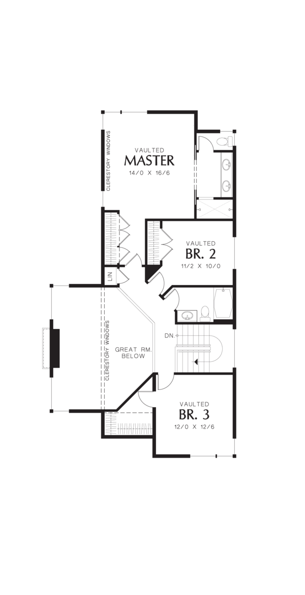 Modern Floor Plan - Upper Floor Plan Plan #48-574