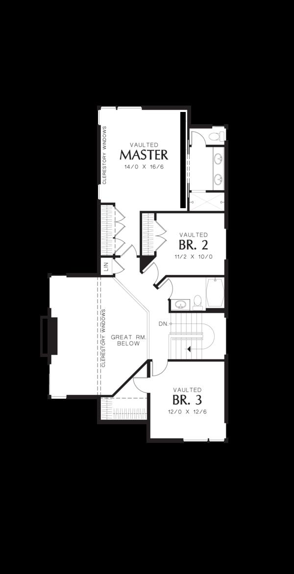 Modern Floor Plan - Upper Floor Plan Plan #48-574