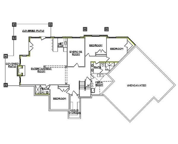 Ranch Floor Plan - Lower Floor Plan Plan #5-282