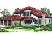 Mediterranean Style House Plan - 4 Beds 3 Baths 2811 Sq/Ft Plan #72-160 Exterior - Front Elevation