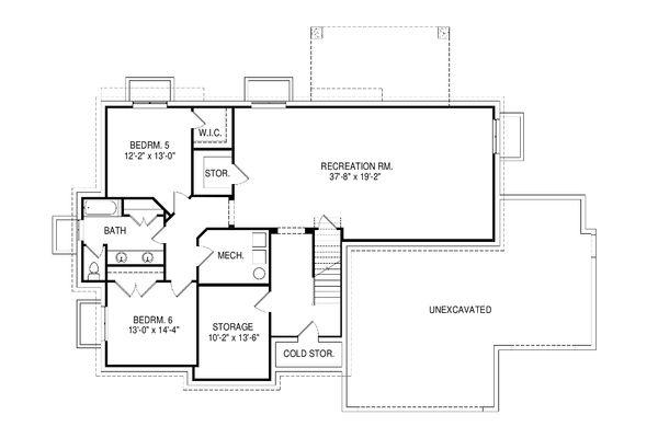 Ranch Floor Plan - Lower Floor Plan Plan #920-97